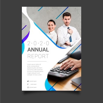 Abstract annual report template with business colleagues