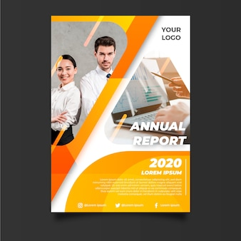 Abstract annual report template with business partners
