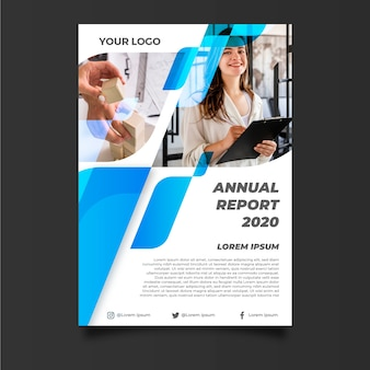 Abstract annual report template with businesswoman