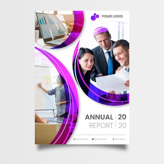 Abstract annual report template with coworkers