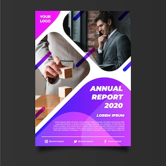 Abstract annual report template with entrepreneur
