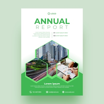 Abstract annual report template with image