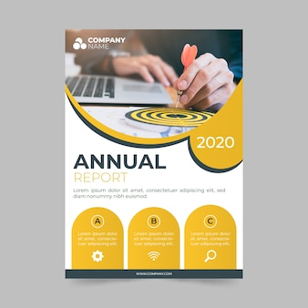 Abstract annual report template with photo concept
