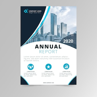 Abstract annual report template with photo design