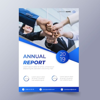 Abstract annual report template with photo of workers putting fists together