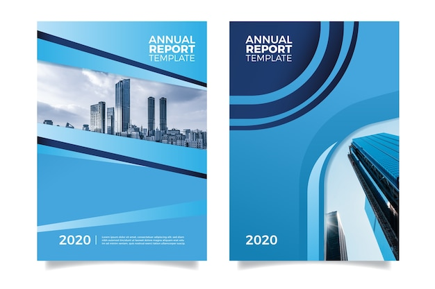 Abstract annual report template with photo
