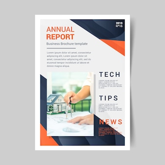 Abstract annual report template with picture