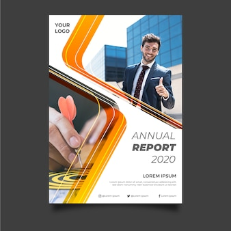 Abstract annual report template with young businessman