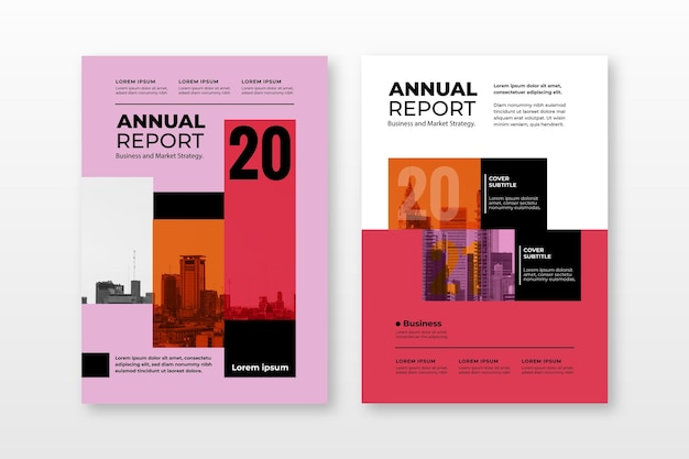 Abstract annual report templates collection