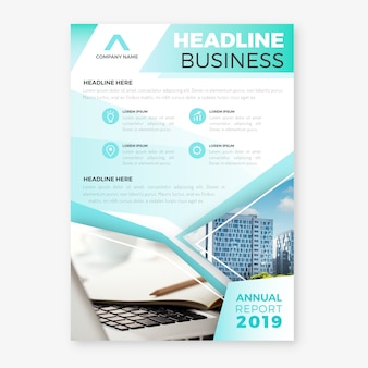 Abstract annual report with image template