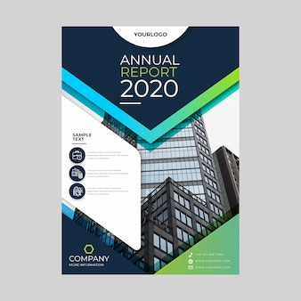 Abstract annual report with photo