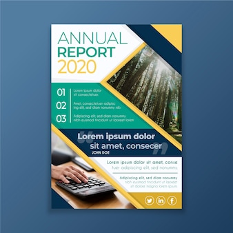 Abstract annual report with picture template