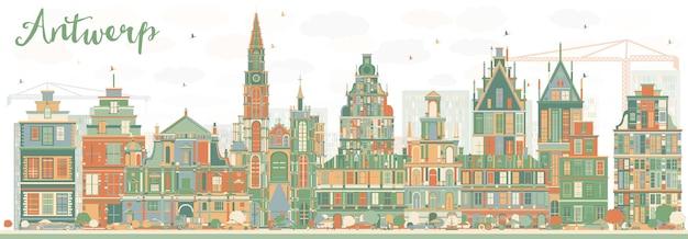 Абстрактный горизонт антверпена с цветными зданиями. векторные иллюстрации. деловые поездки и концепция туризма с исторической архитектурой. изображение для презентационного баннера и веб-сайта.