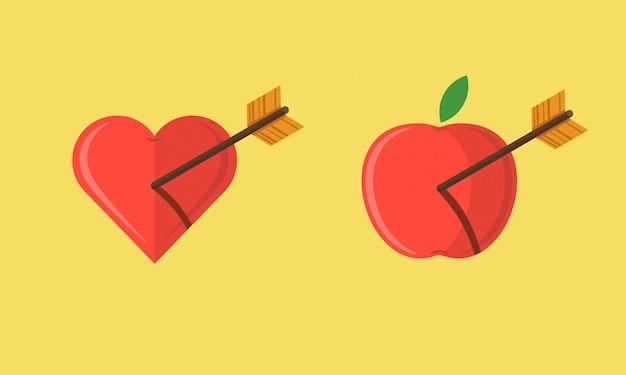 Abstract apple and heart shot with an arrow illustration set