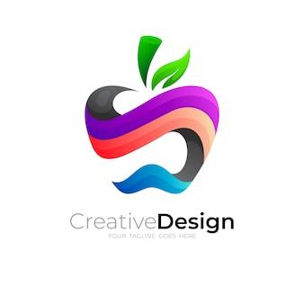 カラフルなデザイン、3dアイコンと抽象的なリンゴのロゴ