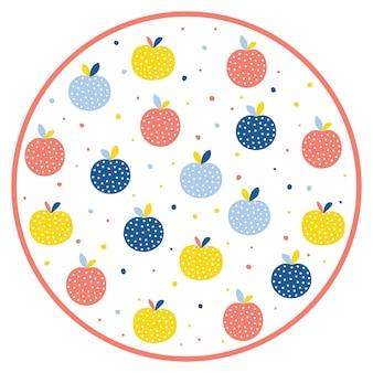 抽象的なリンゴパターンの背景。デザインカード、カフェメニュー、壁紙、サマーギフトアルバム、スクラップブック、バッグプリント、tシャツなどの幼稚な手作りイラスト。