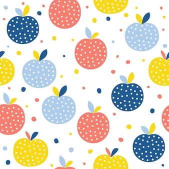 抽象的なリンゴのシームレスなパターンの背景。デザインカード、カフェメニュー、壁紙、サマーギフトアルバム、スクラップブック、ホリデーラッピングペーパー、テキスタイルファブリック、バッグプリント、tシャツなどの幼稚な手作り工芸品。