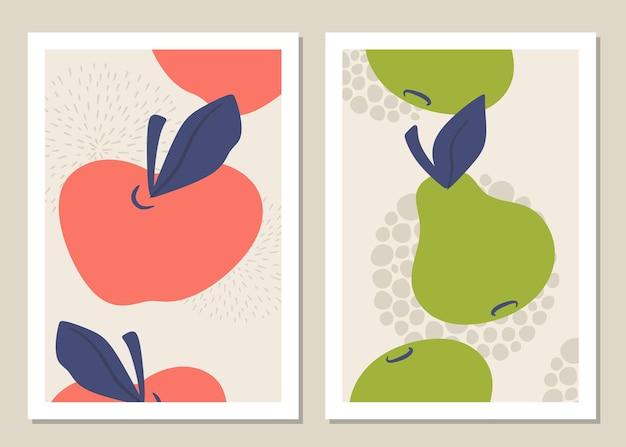 Абстрактные яблоки, груши и формы.