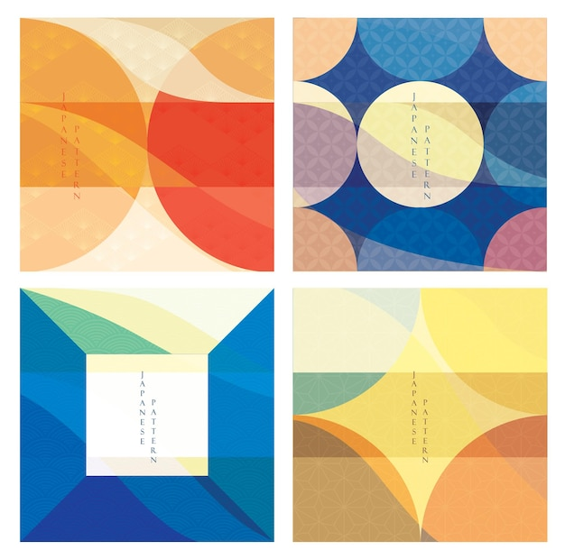 Abstract architecture background with geometric pattern. curve and wavy elements with japanese pattern.