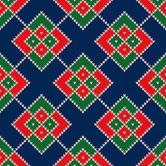 추상 아가일 니트 스웨터 패턴