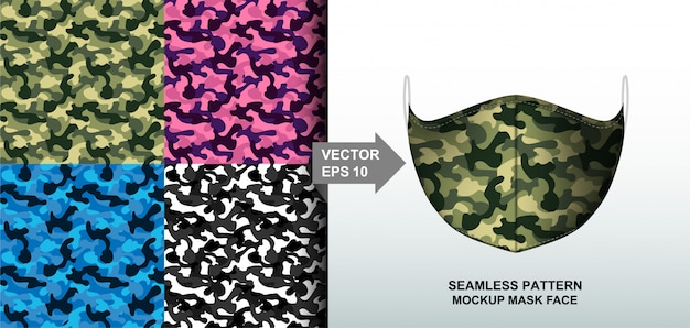 Abstract. army camouflage pattern colorful background pattern seamless design for mask face