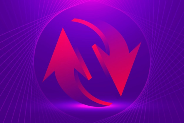 Fondo astratto della freccia, vettore di simbolo inverso di affari di pendenza viola