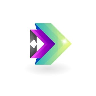 抽象的な矢印のデザインテンプレート、カラフルなスタイルのロゴ