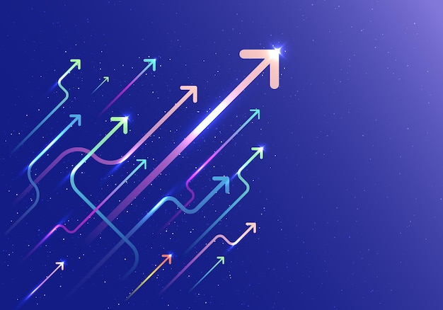 Abstract arrow group moving up motion with lighting movement on blue background. business growth concept. vector illustration