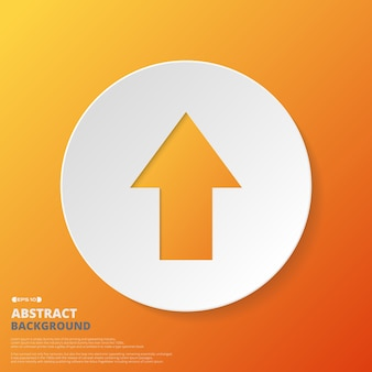 Abstract of arrow icon in orange gradient background.