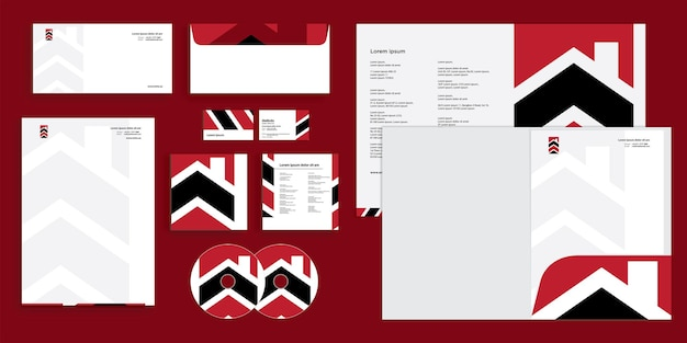 Abstract arrow modern construction company corporate business identity stationary
