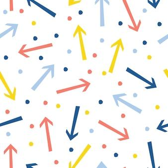 추상 화살표 원활한 패턴 배경입니다. 디자인 카드, 카페 메뉴, 벽지, 앨범, 스크랩북, 휴일 포장지, 섬유 직물, 가방 프린트, 티셔츠 등을 위한 유치한 수제 공예