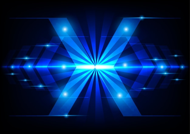 Abstract arrow technology on blue light concept