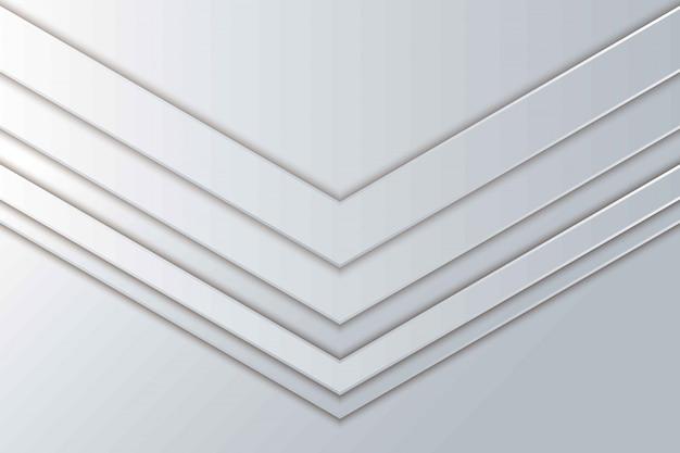 抽象矢印ホワイトペーパーカット背景。織り目加工の抽象的な現実的な層状ペーパーカット装飾。シェイプレイヤーが重なっている3d背景。