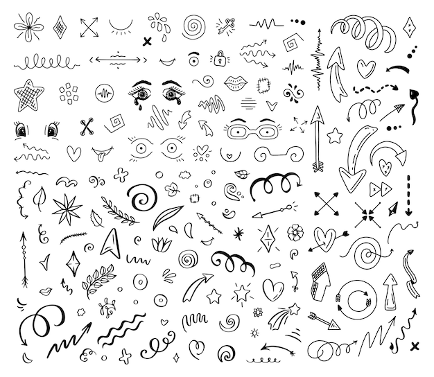 Abstract arrows and other elements in hand drawn style