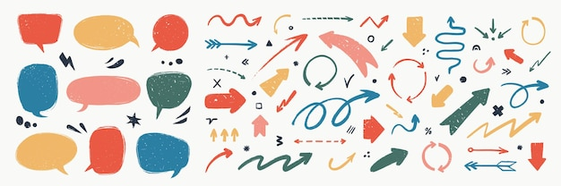 Abstract arrows and speech bubbles set