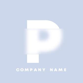 추상 미술 알파벳 문자 p 로고입니다. 유리 형태 . 흐릿한 스타일 글꼴, 타이포그래피 디자인, 알파벳 문자 및 숫자. defocus 글꼴 디자인, 집중 및 defocused 스타일 알파벳. 벡터 일러스트 레이 션