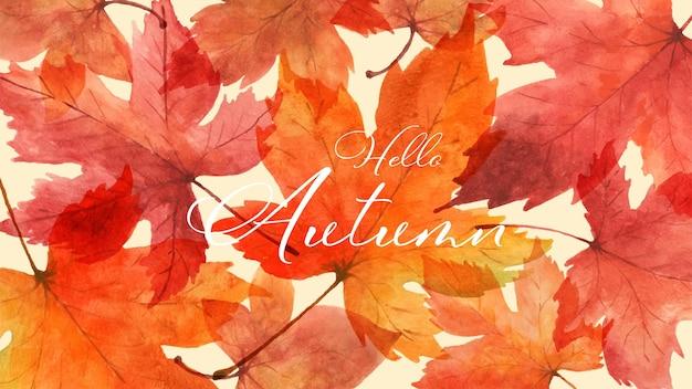 カエデの葉の水彩画と抽象芸術秋の背景。秋のお祭りで飾るデザイン、グリーティングカード、招待状、ポスターに最適な水彩画の手描きアートデザイン。