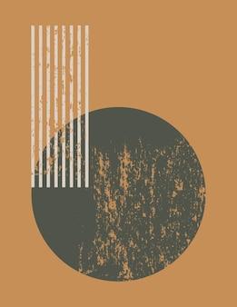 단순한 모양-원 및 줄무늬가 있는 최신 유행의 최소한의 스타일의 추상 미술 배경. 벽 예술, 티셔츠 인쇄, 표지, 배너, 소셜 미디어를 위한 현대 벡터 boho 그림
