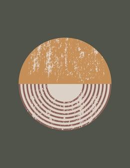 단순한 모양-원 및 줄무늬가 있는 최신 유행의 최소한의 스타일의 추상 미술 배경. 소셜 미디어에 대한 벽 예술, 티셔츠 인쇄, 표지, 배너 벡터 boho 그림