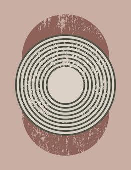 단순한 모양 - 원과 줄무늬가 있는 최신 유행의 최소한의 스타일의 추상 미술 배경. 벽 예술, 티셔츠 인쇄, 표지, 배너, 소셜 미디어를 위한 벡터 현대 boho 그림