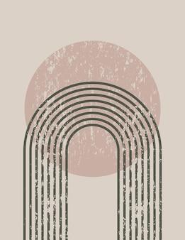 무지개와 태양이 있는 최신 유행의 최소한의 스타일의 추상 미술 배경. 소셜 미디어에 대한 벽 예술, 티셔츠 인쇄, 표지, 배너 벡터 boho 그림