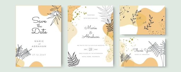 Abstract art background vector. luxury invitation card background with golden line art flower and botanical leaves, organic shapes