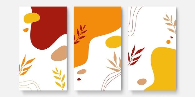 抽象芸術の背景ベクトル。ラインアートの花と植物の葉、有機的な形の豪華な招待カードの背景