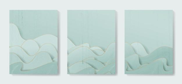 オリエンタルスタイルの線のパターンと抽象的なアートの背景。デザイン装飾のための様式化された自然の風景