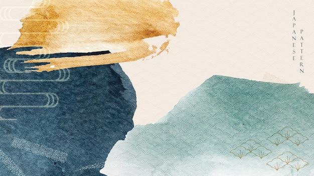 파란색과 노란색 수채화 텍스처와 추상 미술 배경. 아시아 스타일의 브러시 스트로크 배너와 함께 일본 웨이브 패턴.