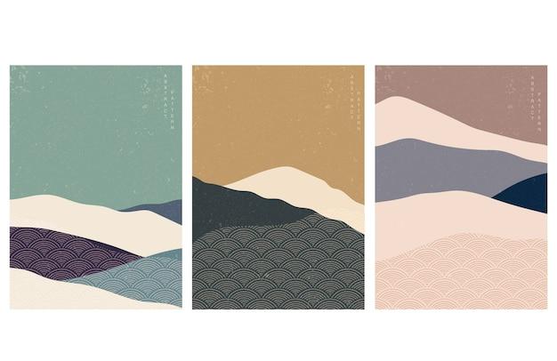 日本の波のパターンを持つ抽象芸術の背景。レトロなスタイルのアート風景。山林テンプレート。