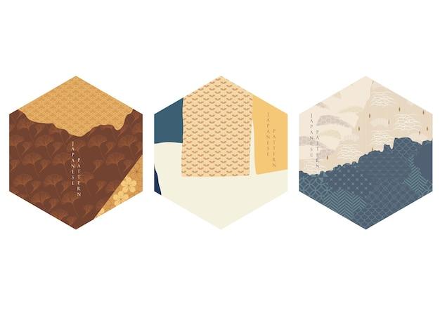 Предпосылка абстрактного искусства с японским вектором картины волны. азиатский шаблон объекта украшения в винтажном стиле. кисть сток дизайн макета.