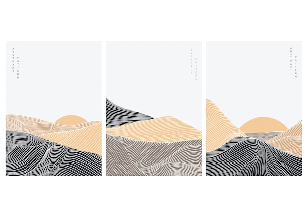 Abstract art background with natural landscape template  . desert elements with line pattern