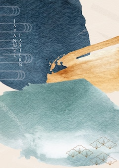 水彩テクスチャと抽象芸術の背景。ブラシストロークの要素と日本の波のパターンを持つアジアンスタイルテンプレートイラスト。