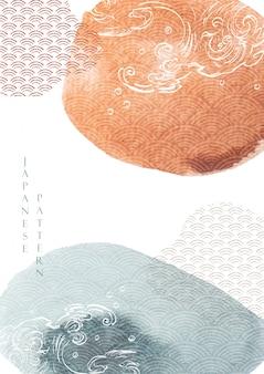 수채화 텍스처와 추상 미술 배경입니다. 아시아 스타일 템플릿 그림에서 손으로 그린 파입니다. 일본 아이콘 및 기호.